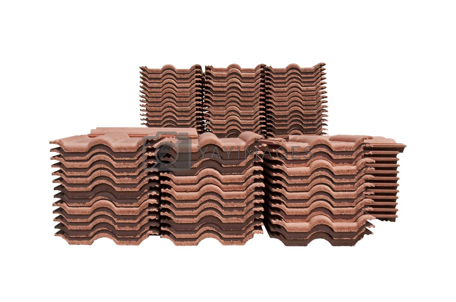 Pile of roofing tiles packaged. Isolated on white