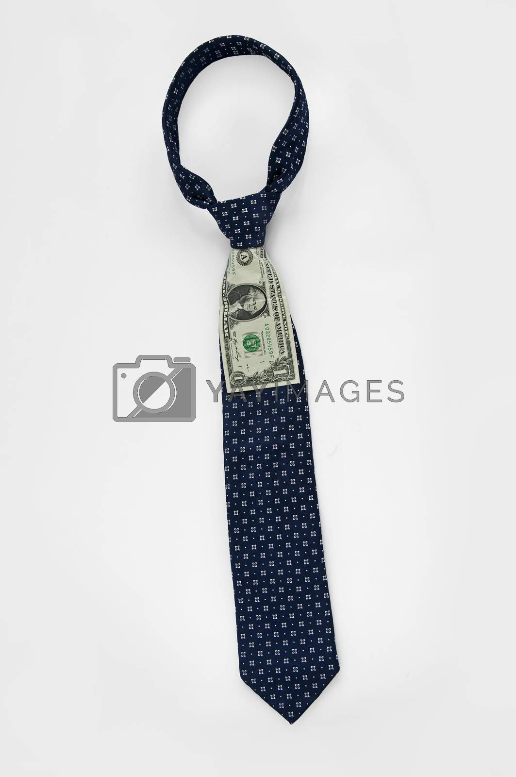 Closeup of a blue business tie with one dollar
