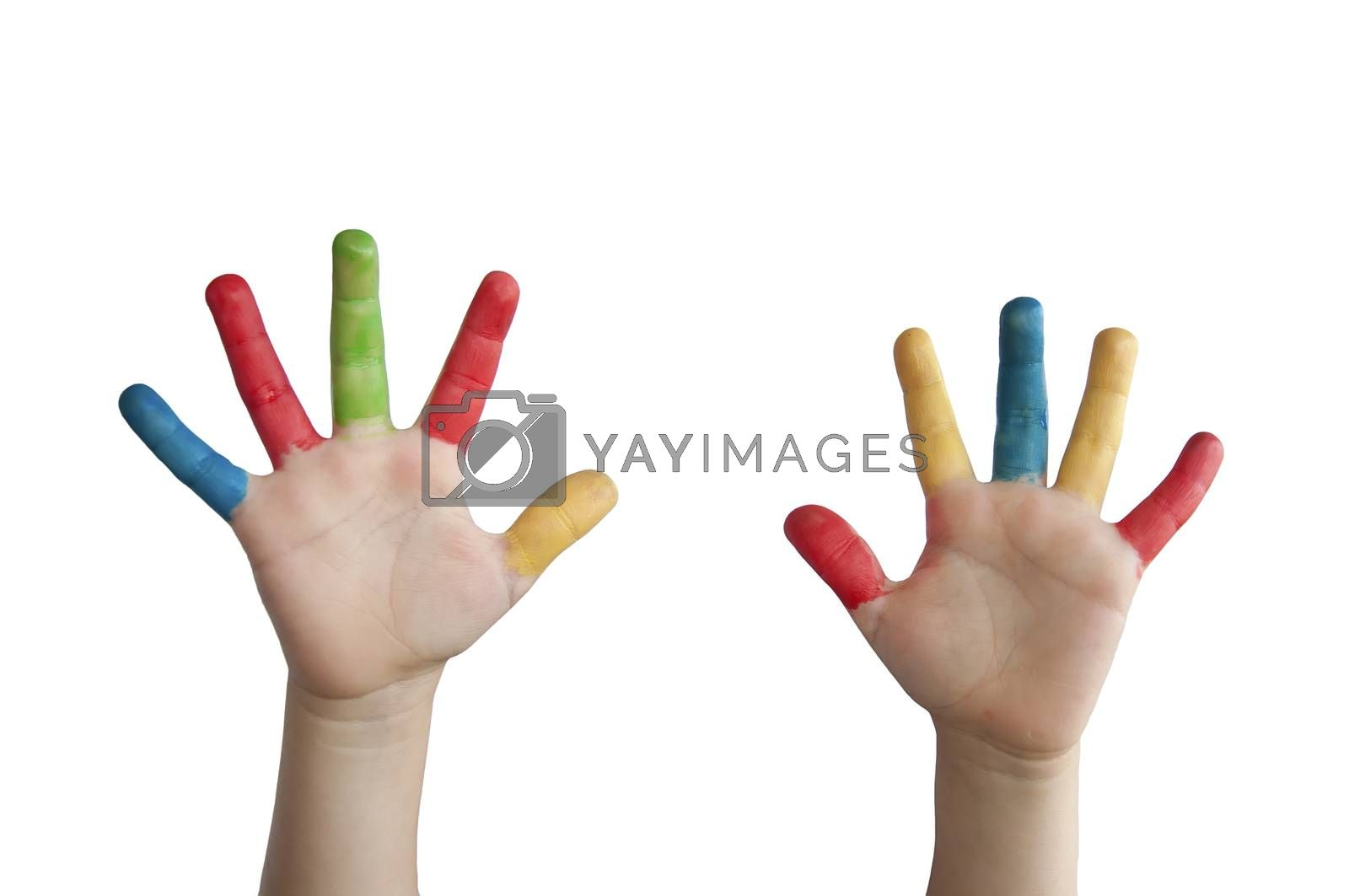 Children colored hands. White isolated