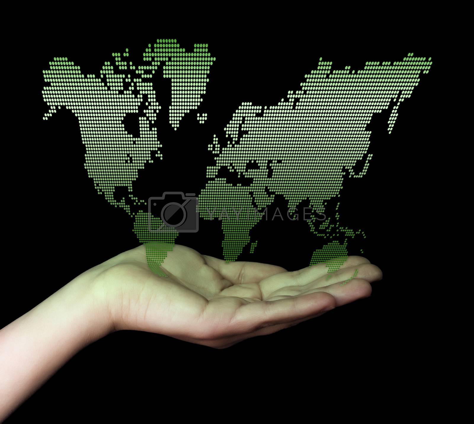 Dot World map business background. Hand holding World map