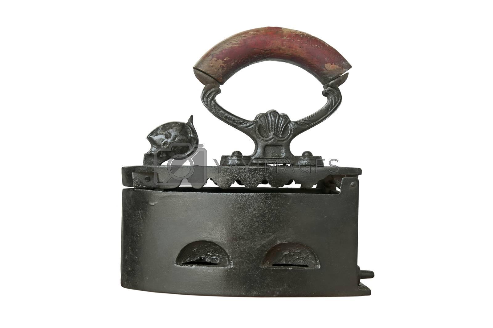Old iron isolated on white background