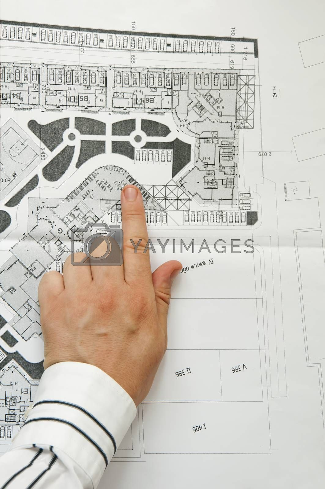 Sketch plan of building construction. Two hands of architect