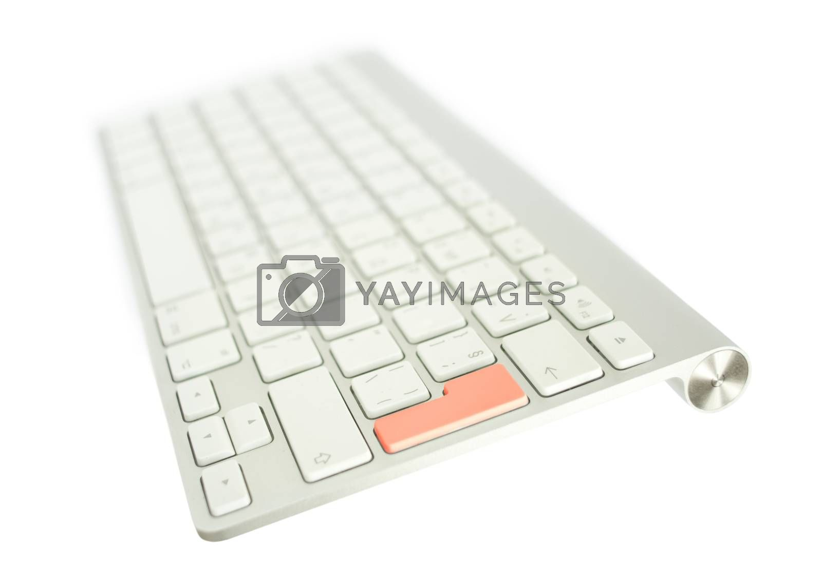 White Keyboard with red button Enter
