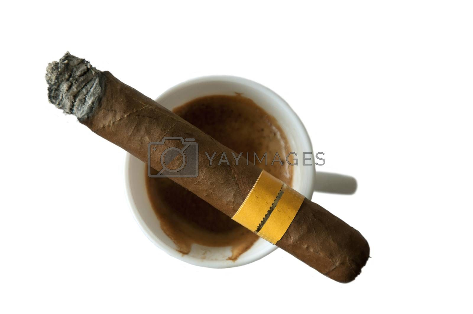 Coffee and cigar on white isolated background