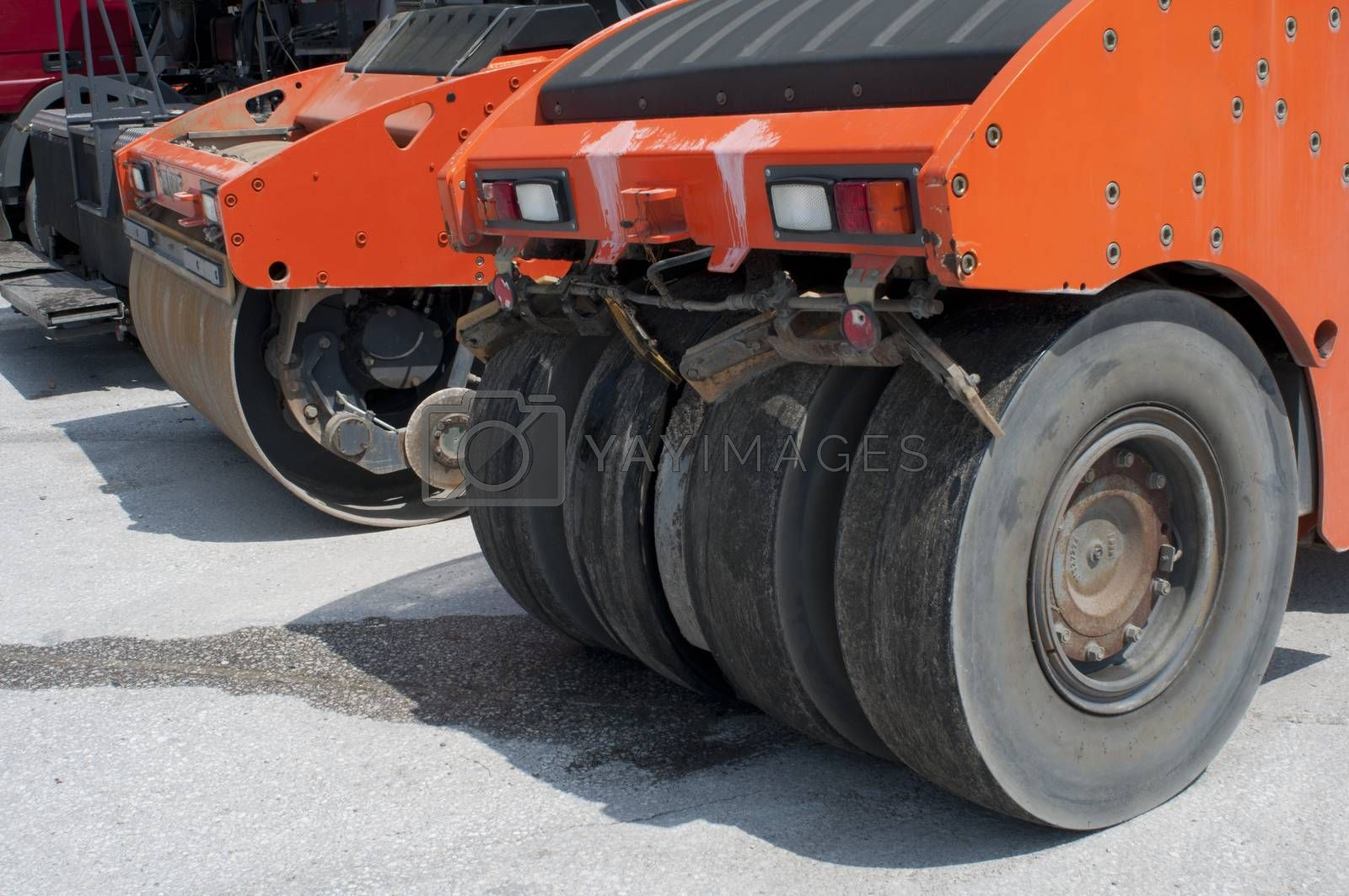 Two asphalt rollers close-up
