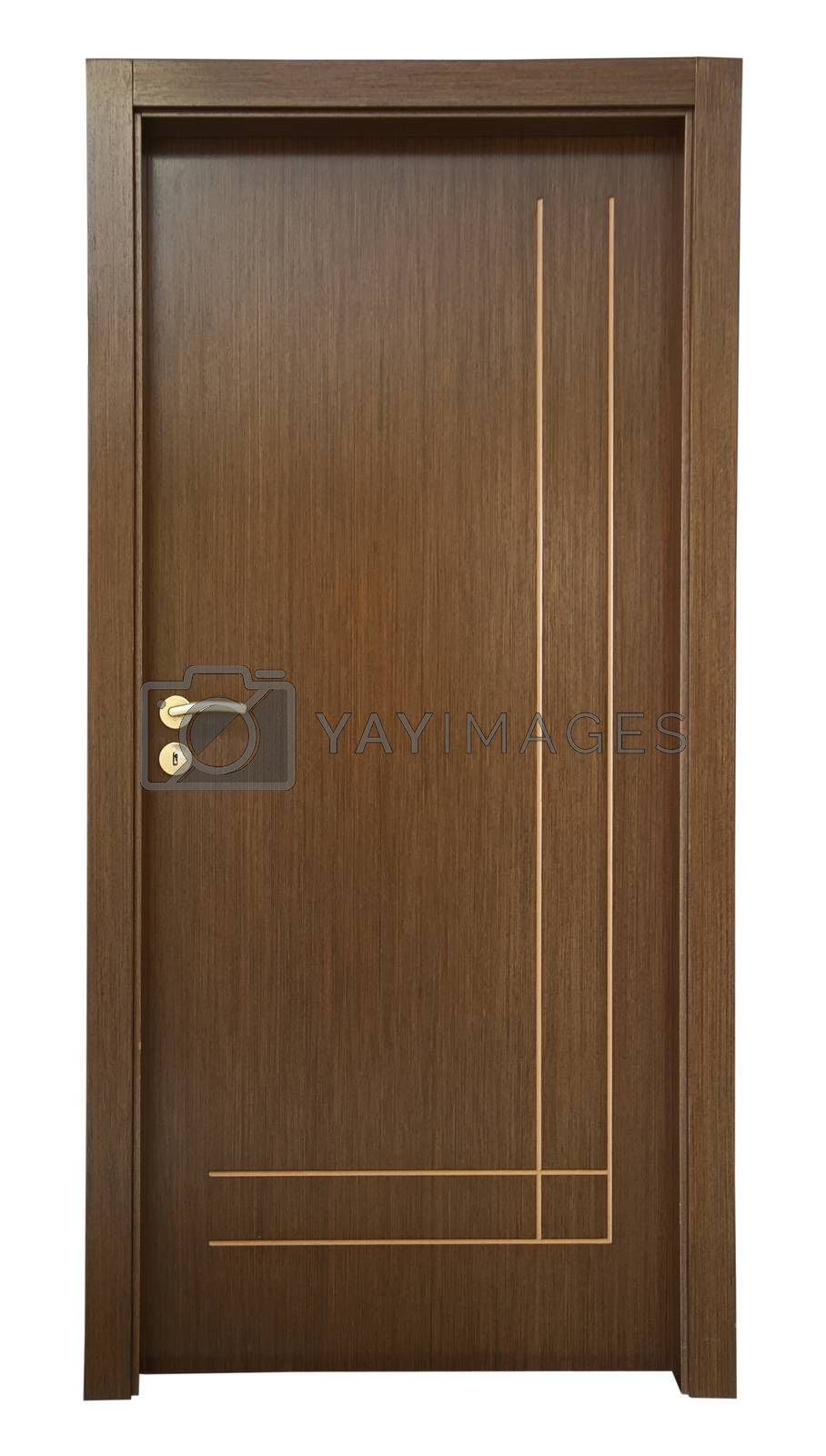Wooden new classic door white isolated.