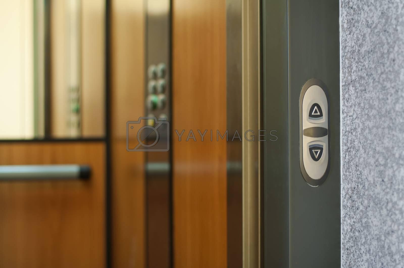 Open door of an elevator. Interior