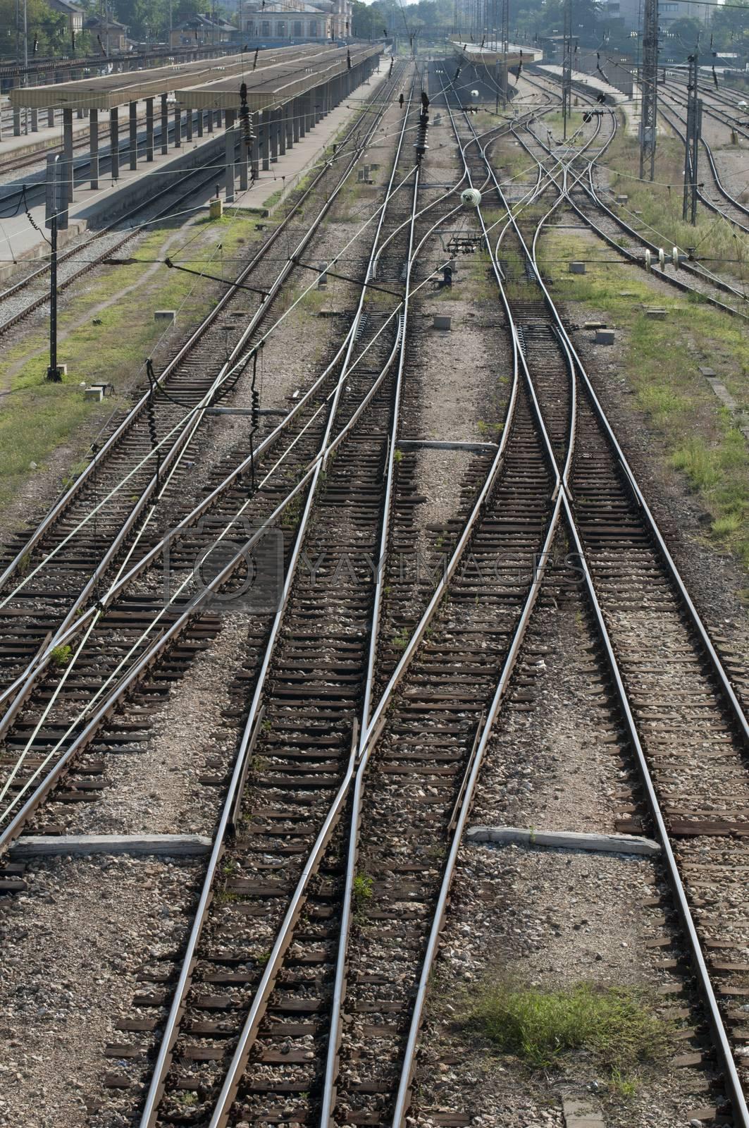 Railways on station. Realways network.