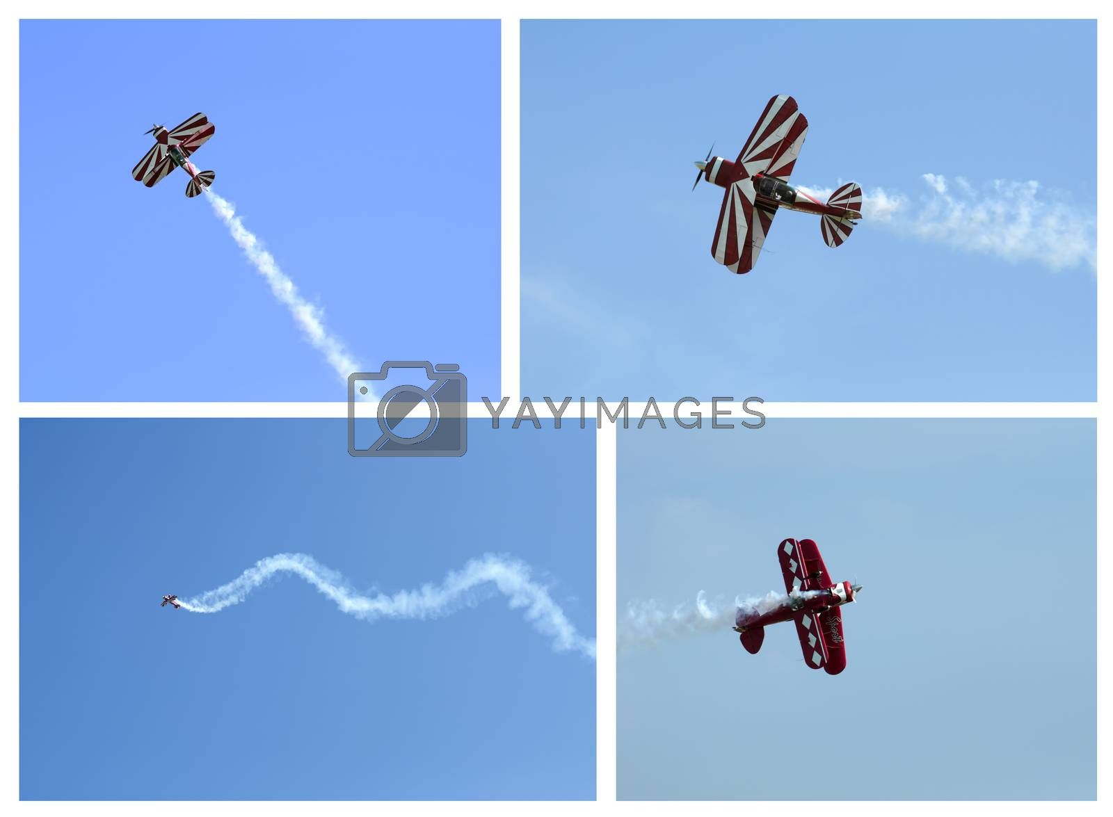 Red plane looping in a blue sky. Lot of four images
