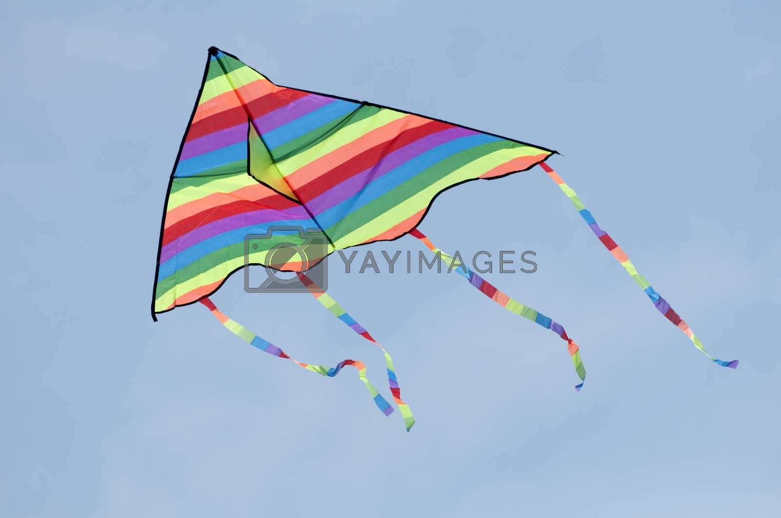 Multicolored kite on blue sky background