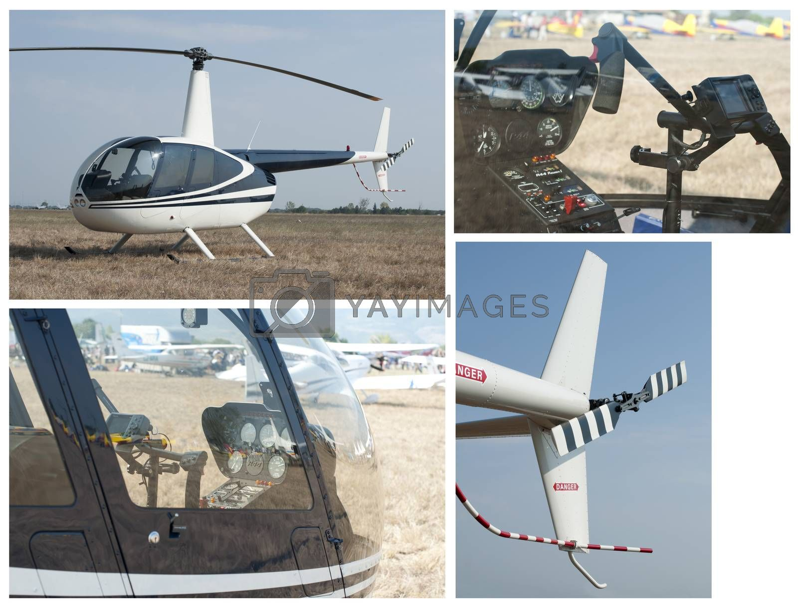 Helicopter, rear wing, cabin and steering lever. Four images