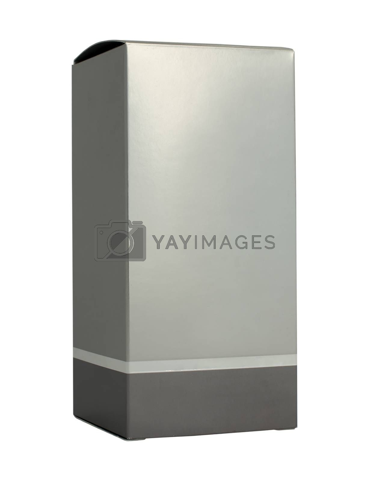 Grey box packaging. Paper made silver color. White isolated