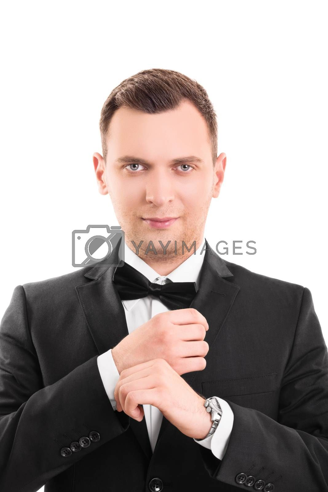 Portrait of a fashionable young man in a suit by Mendelex