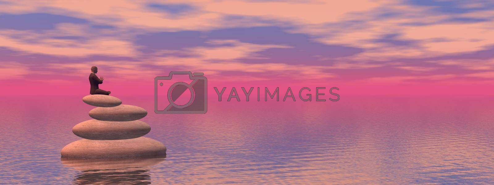 man in meditation and a beautiful pink landscape - 3d rendering