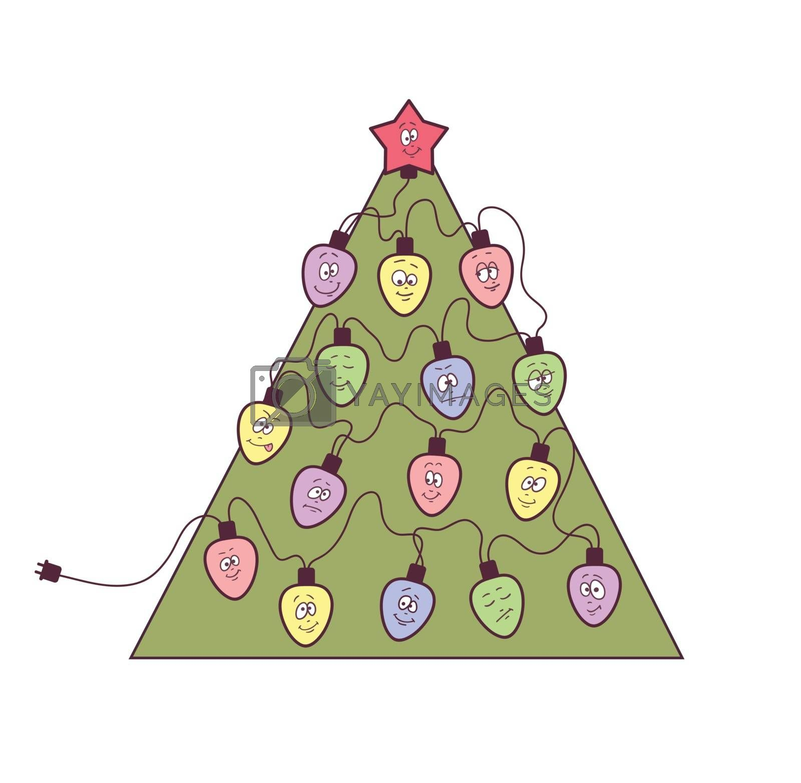 Christmas tree with garland. Fun bulbs with funny faces. Vector illustration.