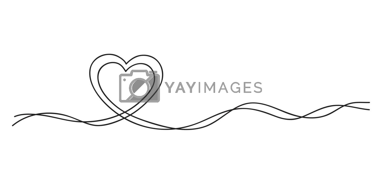 Hearts. Continuous line art drawing. Mother and child love concept. Black and white vector illustration