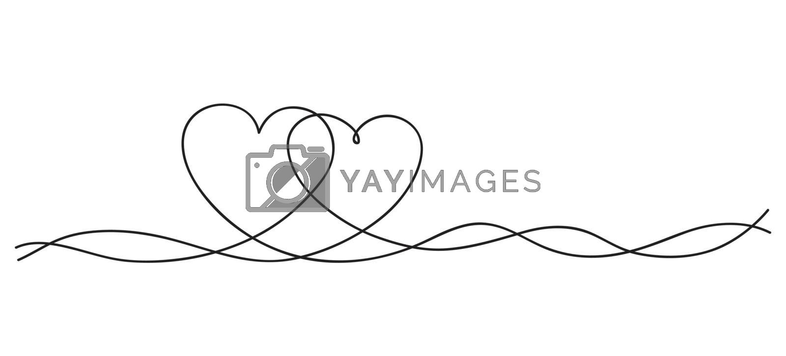 Hearts. Continuous line art drawing. Friendship concept. Best friend forever. Black and white vector illustration