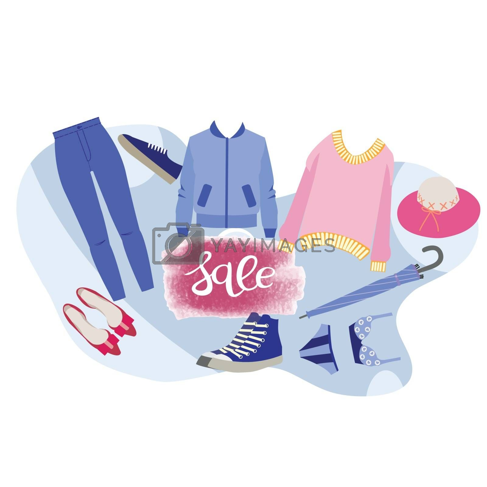 Vector hand-drawn Boutique Fashion store. Sale clothing and accessories banner. Sale, Big sale  background.  poster. End of the season concept. Illustration of sweater,  pants, jeans, umbrella, shoes, sneakers.