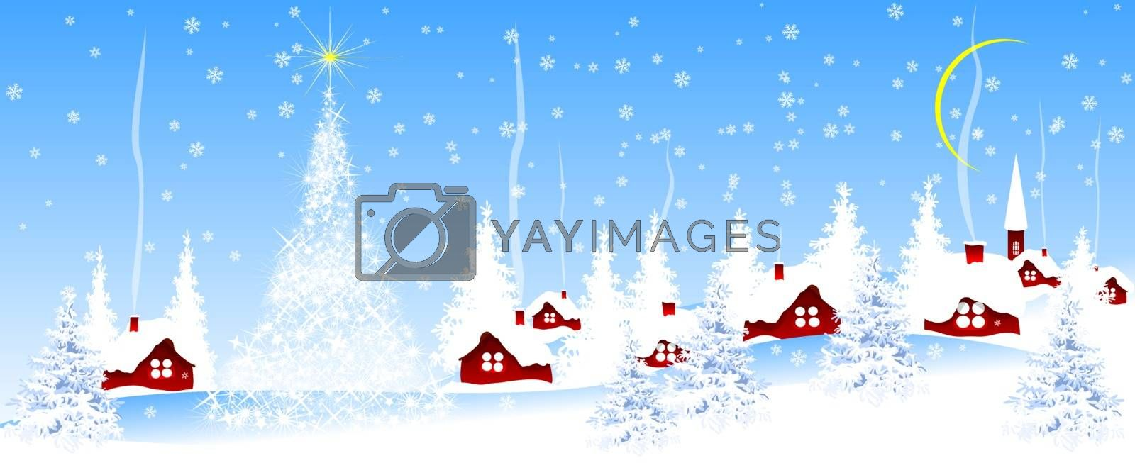 Village covered with snow against the blue sky. Christmas blue banner.