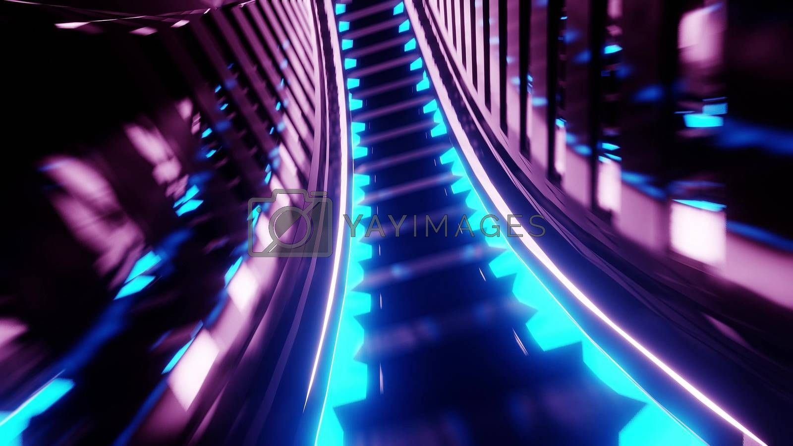 abstract glowing futuristic scifi subway tunnel corridor 3d rendering wallpaper background design, modern abstract sci-fi art with glowing lights 3d illustration