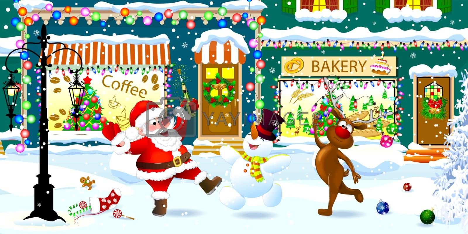 Joyful Santa Claus, deer and snowman on a snowy city street. Night city decorated for Christmas.