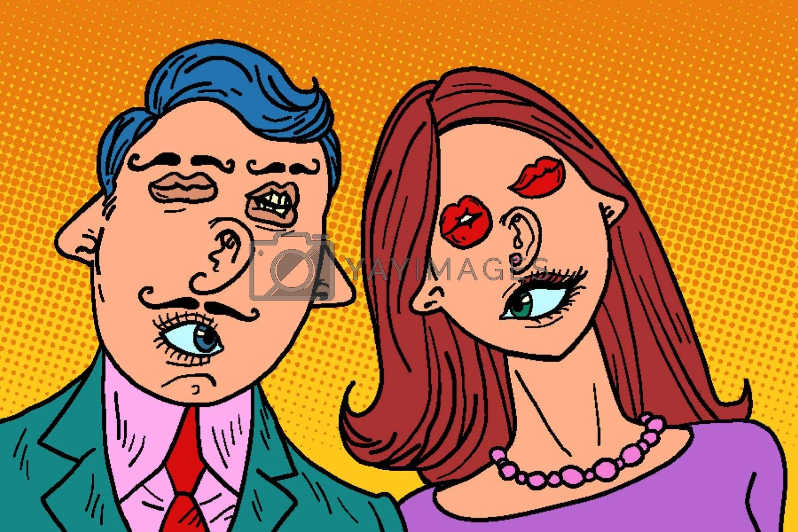 funny couple in love. Mixed faces eyes mouth ears nose. Comic cartoon pop art retro vector illustration drawing