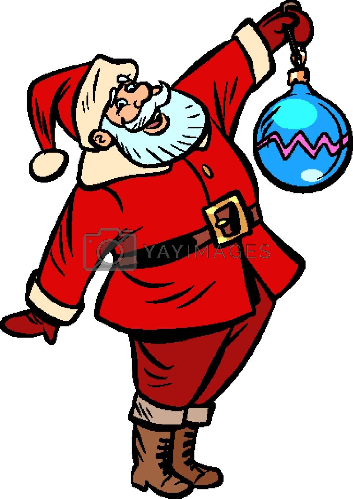 Santa Claus character Christmas new year. Comic cartoon pop art retro vector illustration drawing