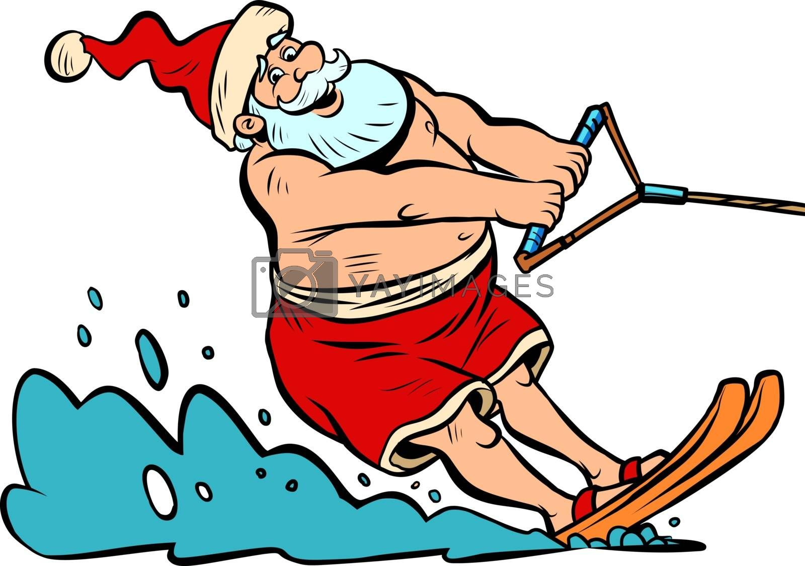 summer vacation water skiing. Santa Claus character Christmas new year. Comic cartoon pop art retro vector illustration drawing