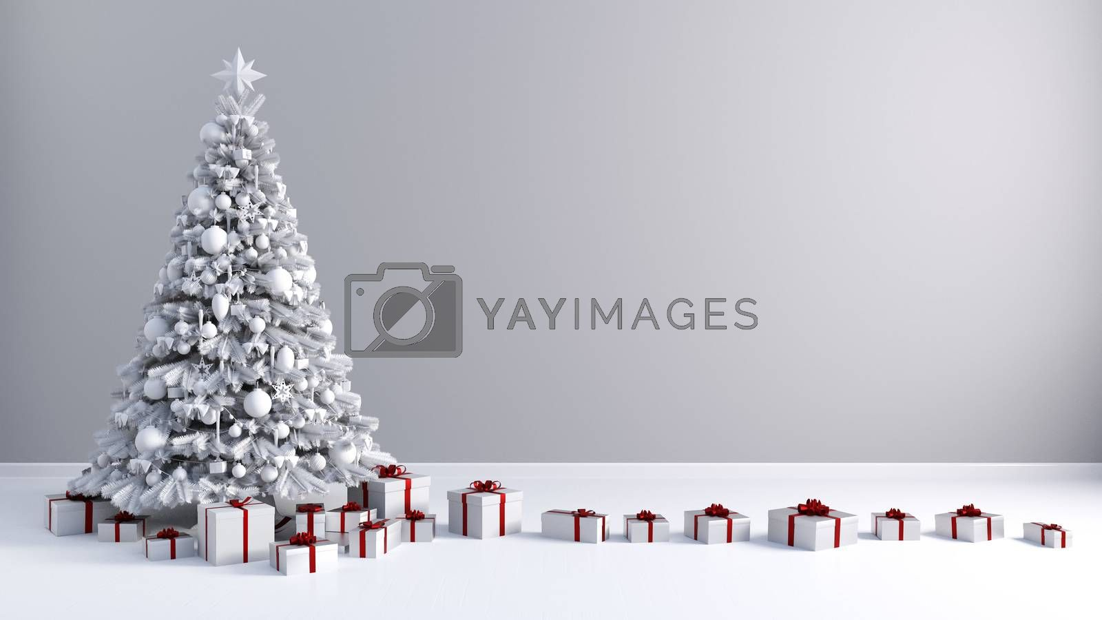 Merry Christmas Greeting Card with Copyspace on Gray Wall