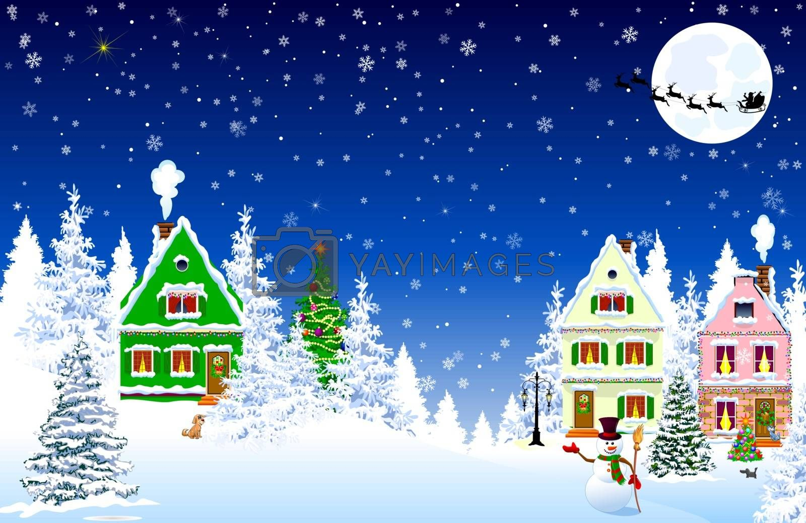 Houses, village, forest, trees. Winter rural landscape. Christmas Eve Night. Snowflakes in the night sky. Santa on a sleigh against the background of the moon. Christmas winter night scene.