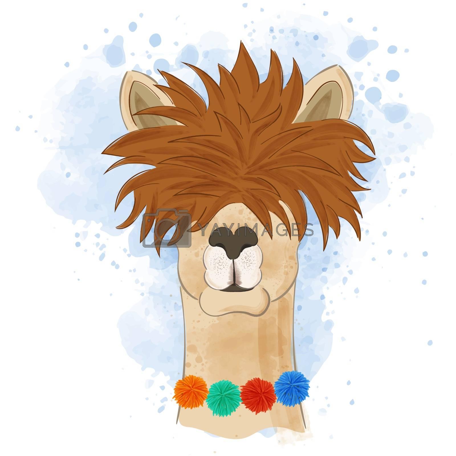 Watercolor funny llama head