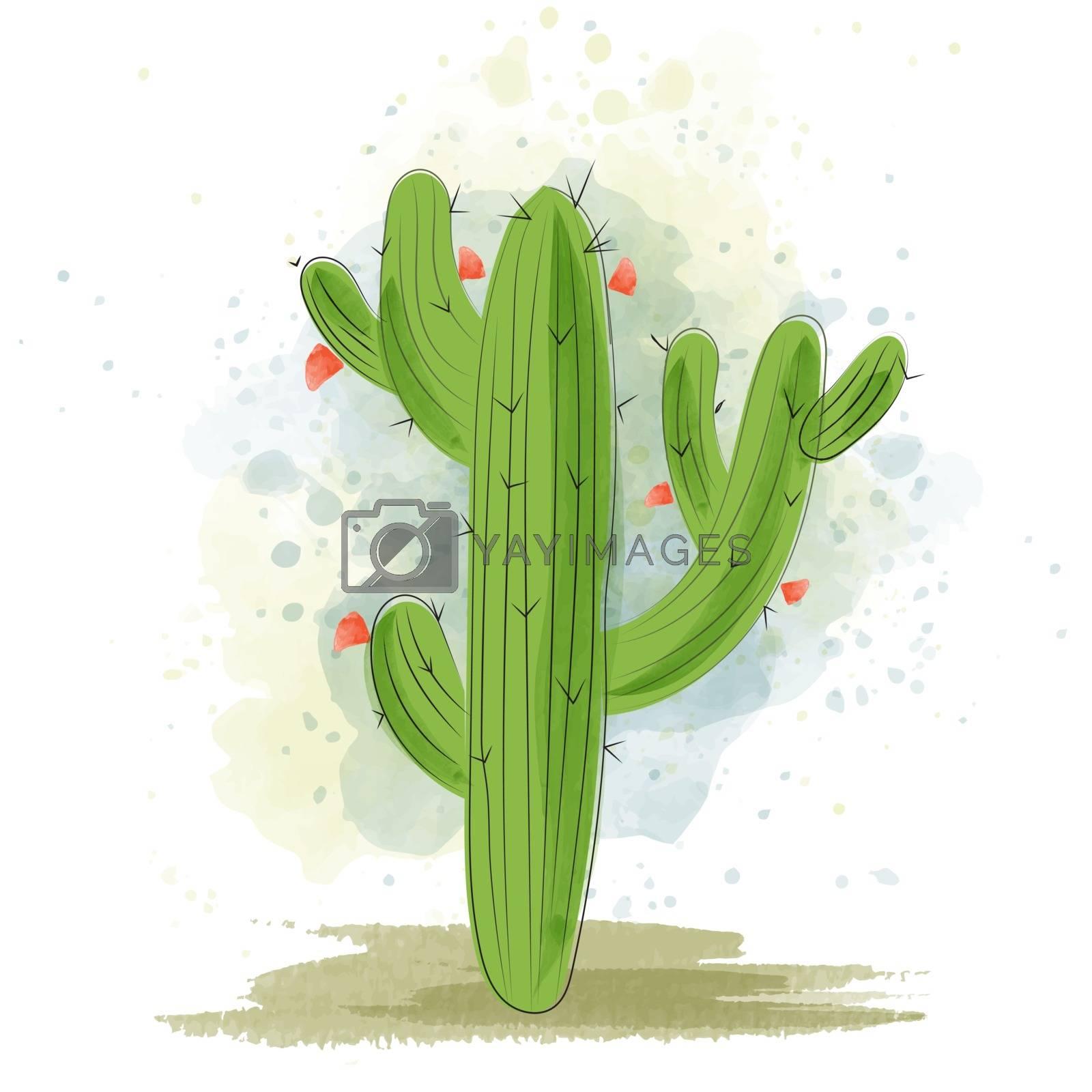 Watercolor cactus blooming. Succulent plant.