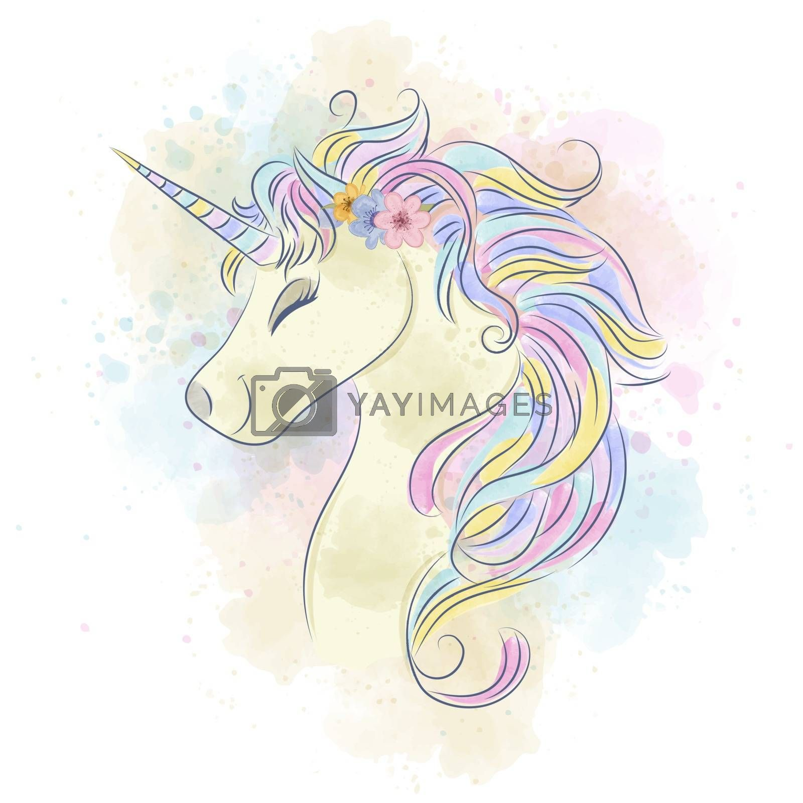 Beautiful watercolor unicorn.