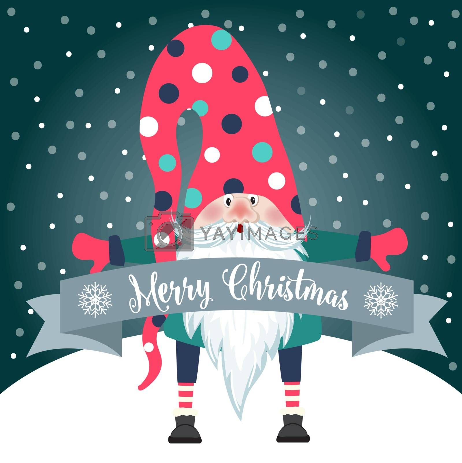 Christmas card with cute gnome and wishes. Flat design. Vector