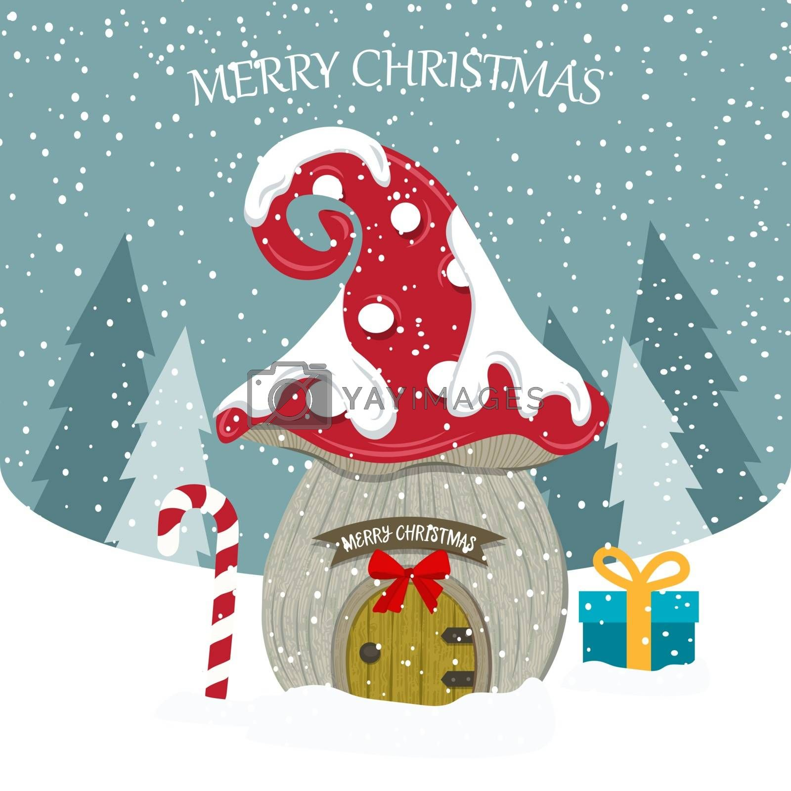 Beautiful flat design  with fairy house. Christmas card . Christmas poster. Vector
