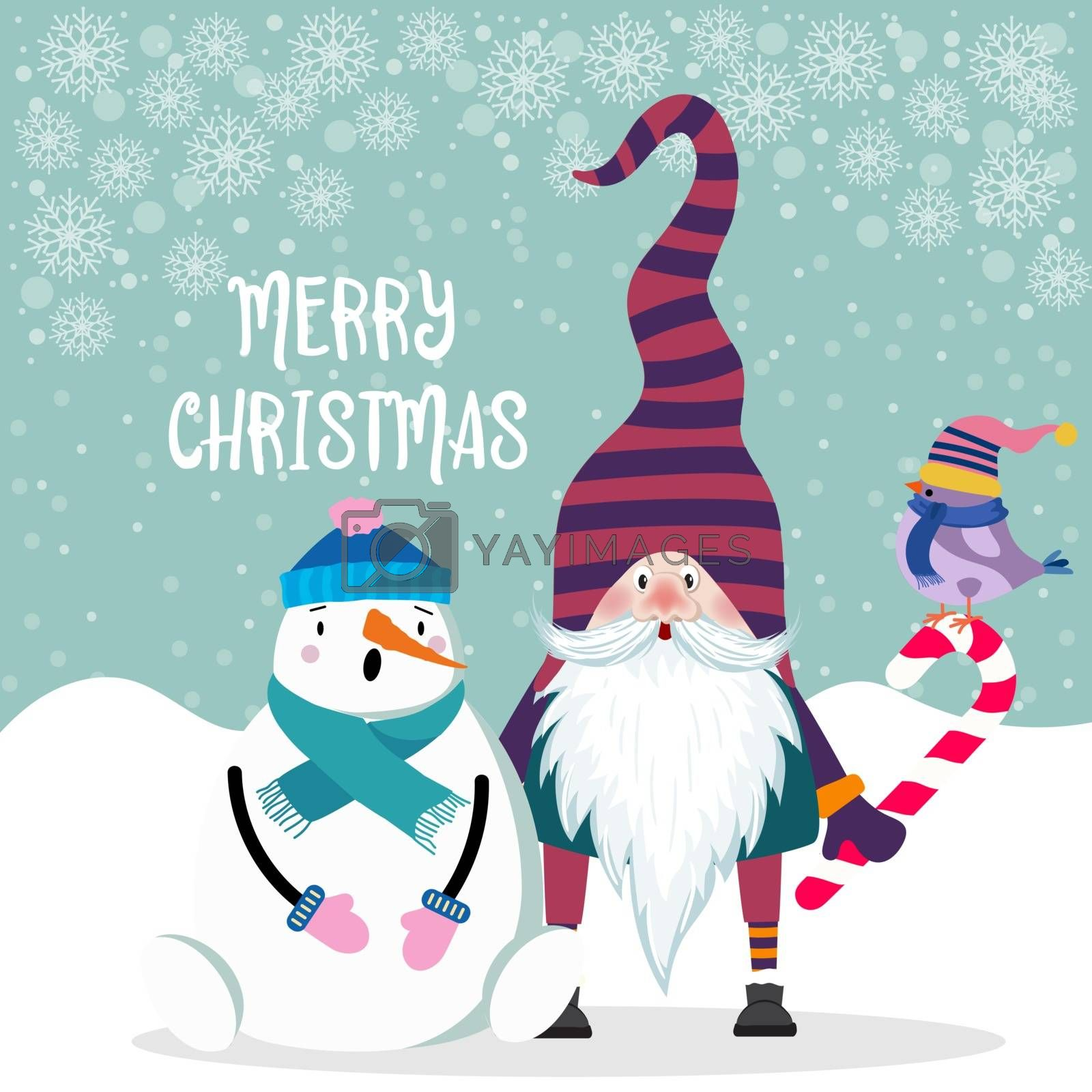 Beautiful flat design Christmas card snowman and gnome . Christmas poster. Vector