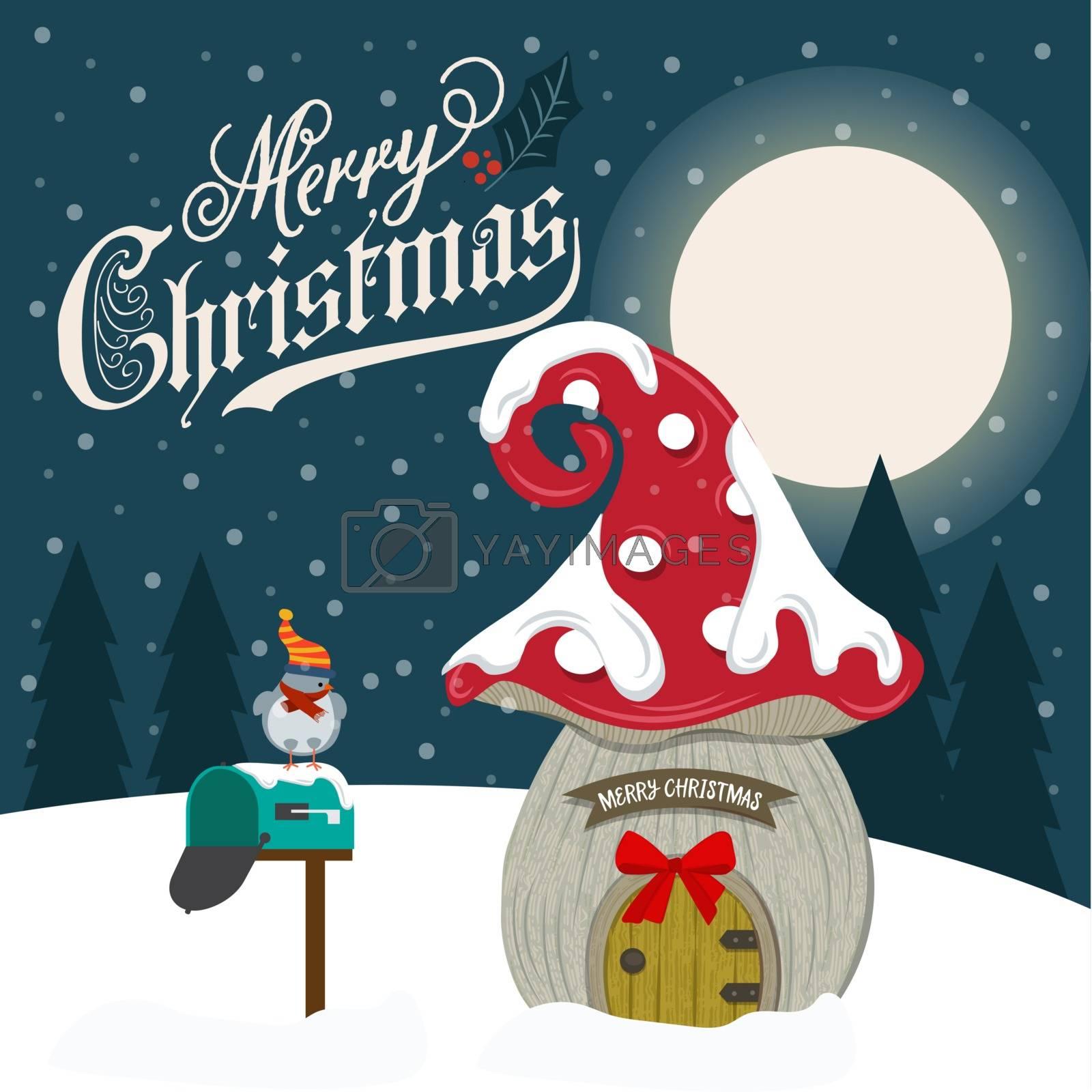 Beautiful flat design Christmas card with fairy house.
