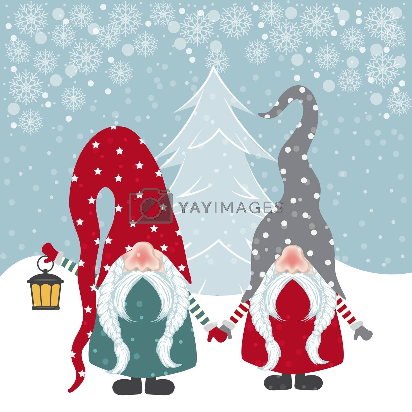 Beautiful flat design Christmas card with happy gnomes. Christmas poster. Vector