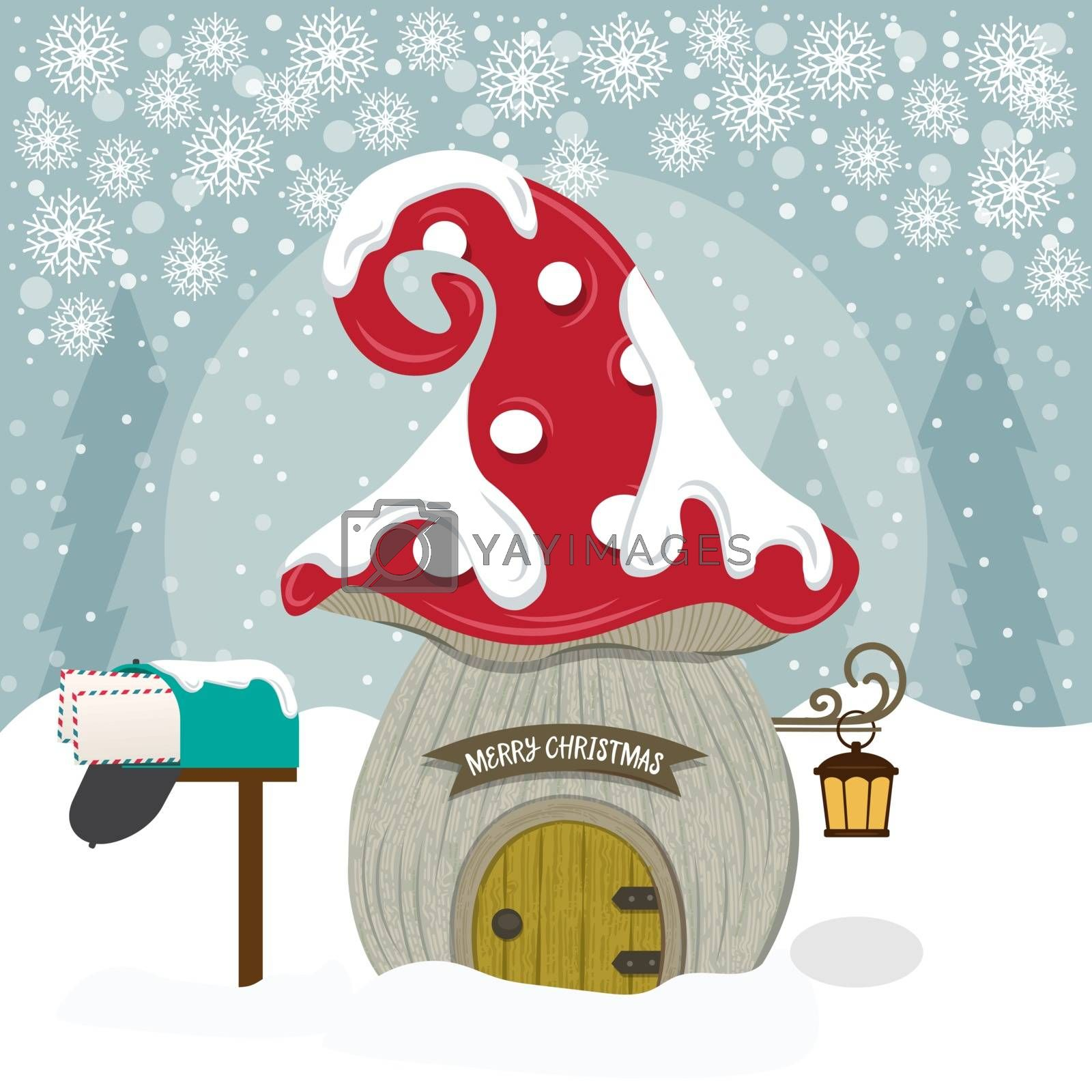 Christmas card with cute gnome house.. Christmas poster. Flat design.
