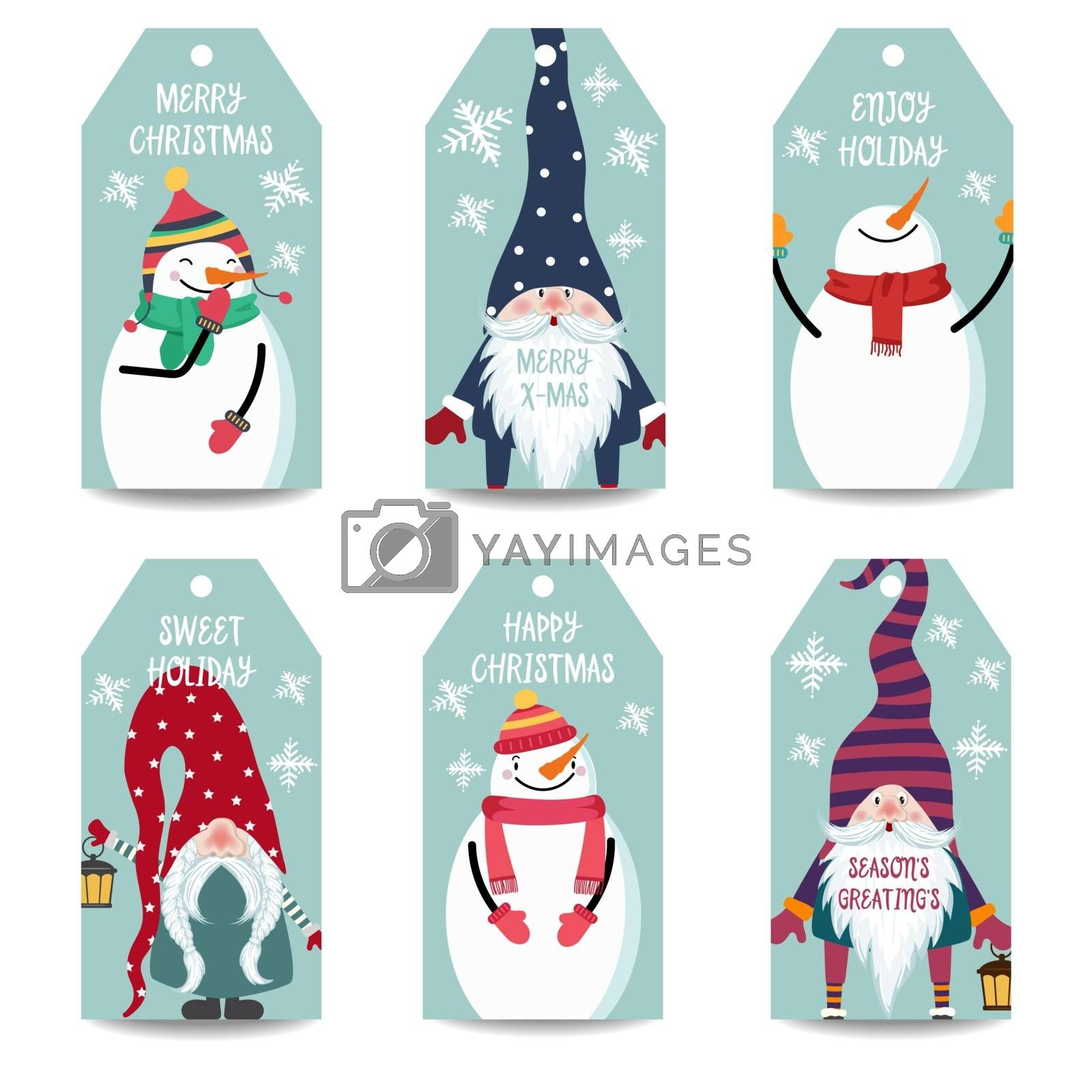 Christmas labels collection with snowman and gnomes isolated items on white background, eps10