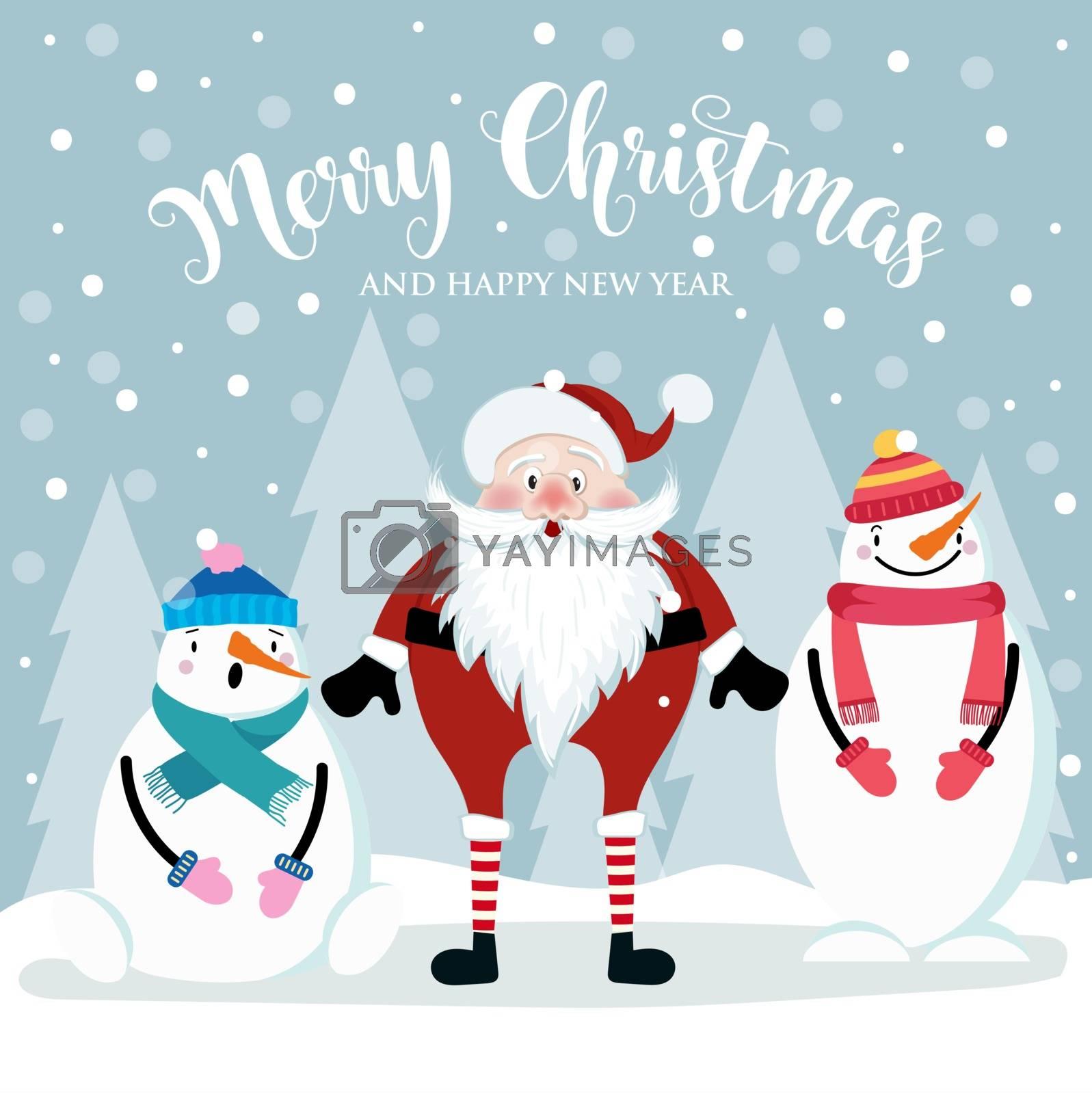 Christmas card with cute Santa and snowmen. Flat design. Vector