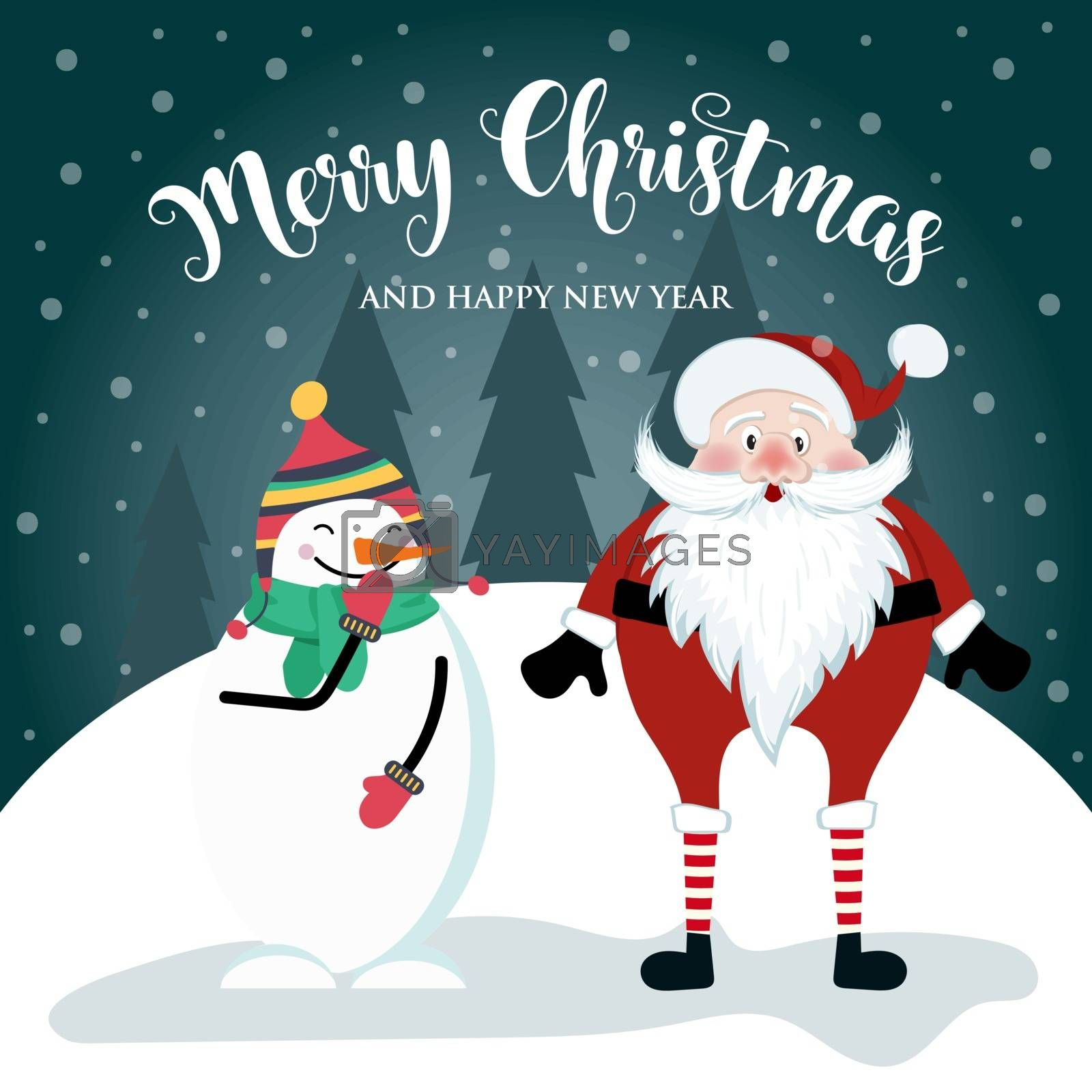 Christmas card with cute Santal, snowman and wishes. Flat design. Vector