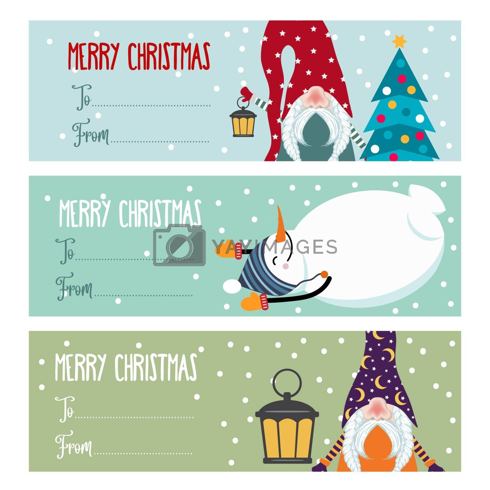 Cute flat design Christmas labels collection with snowmen and gnomes isolated on white background for presents. Vector