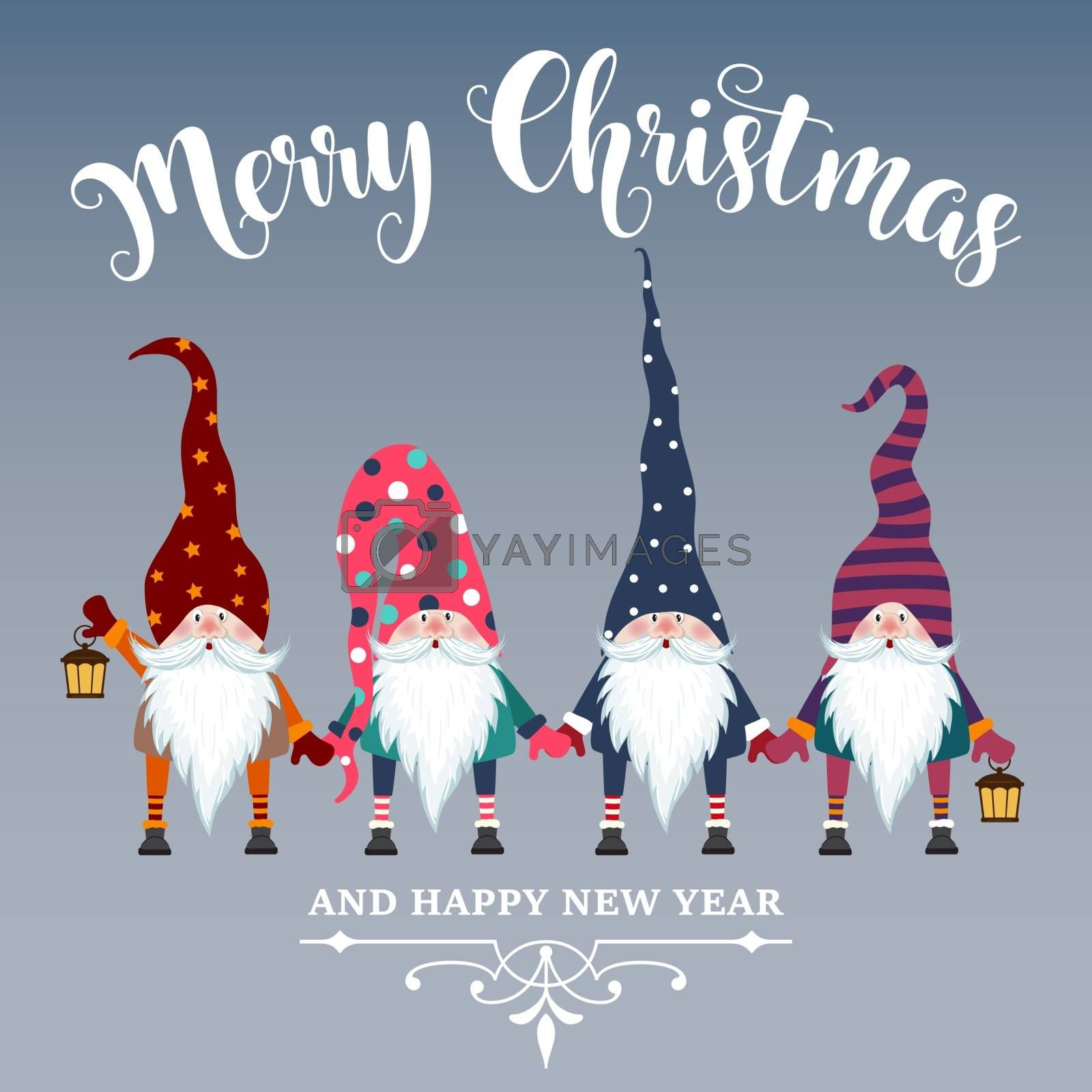Beautiful flat design Christmas card with gnomes. Christmas poster. Print. Vector