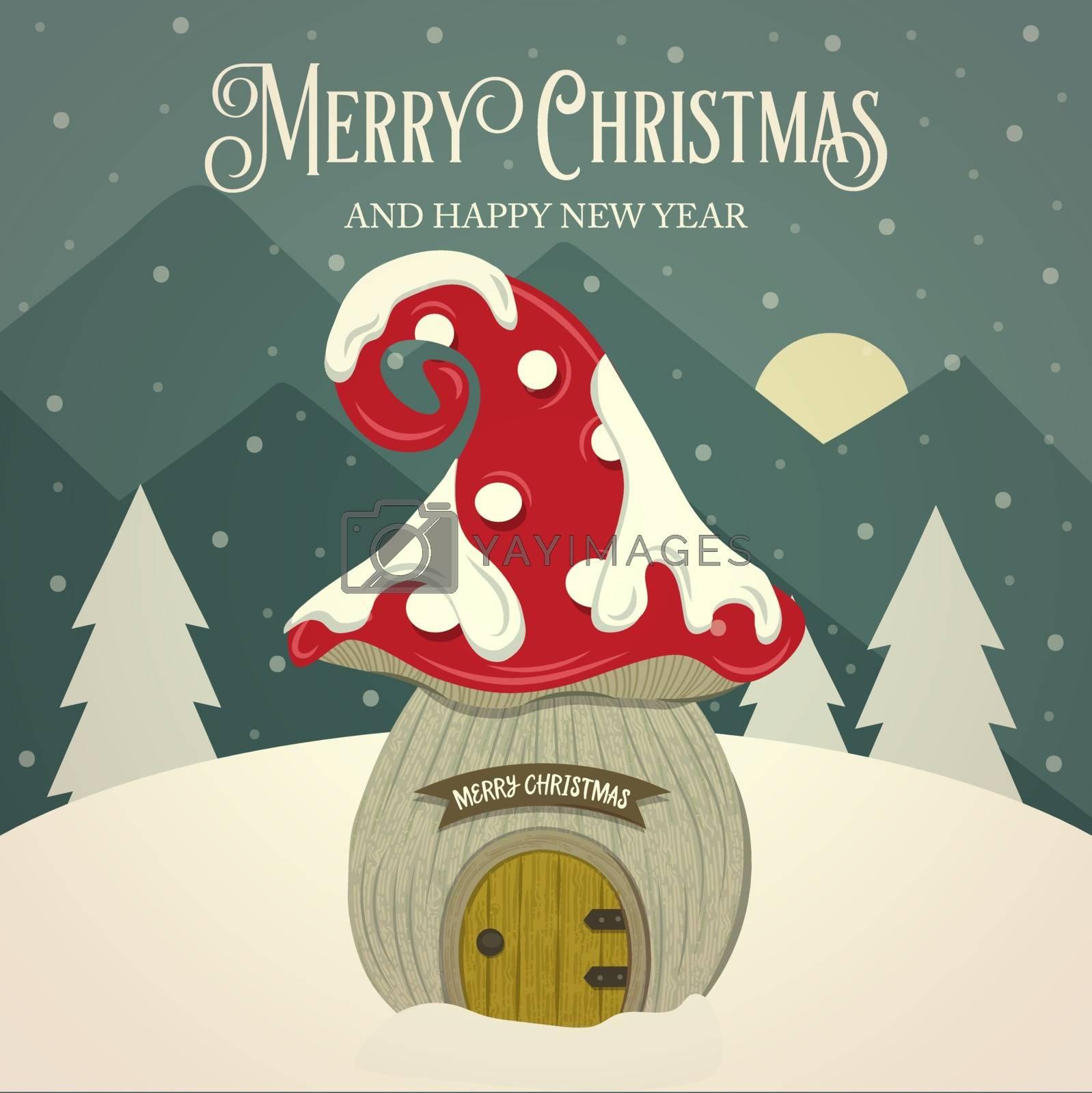 Beautiful retro Christmas card  mushroom fairy house. Flat design. Vector