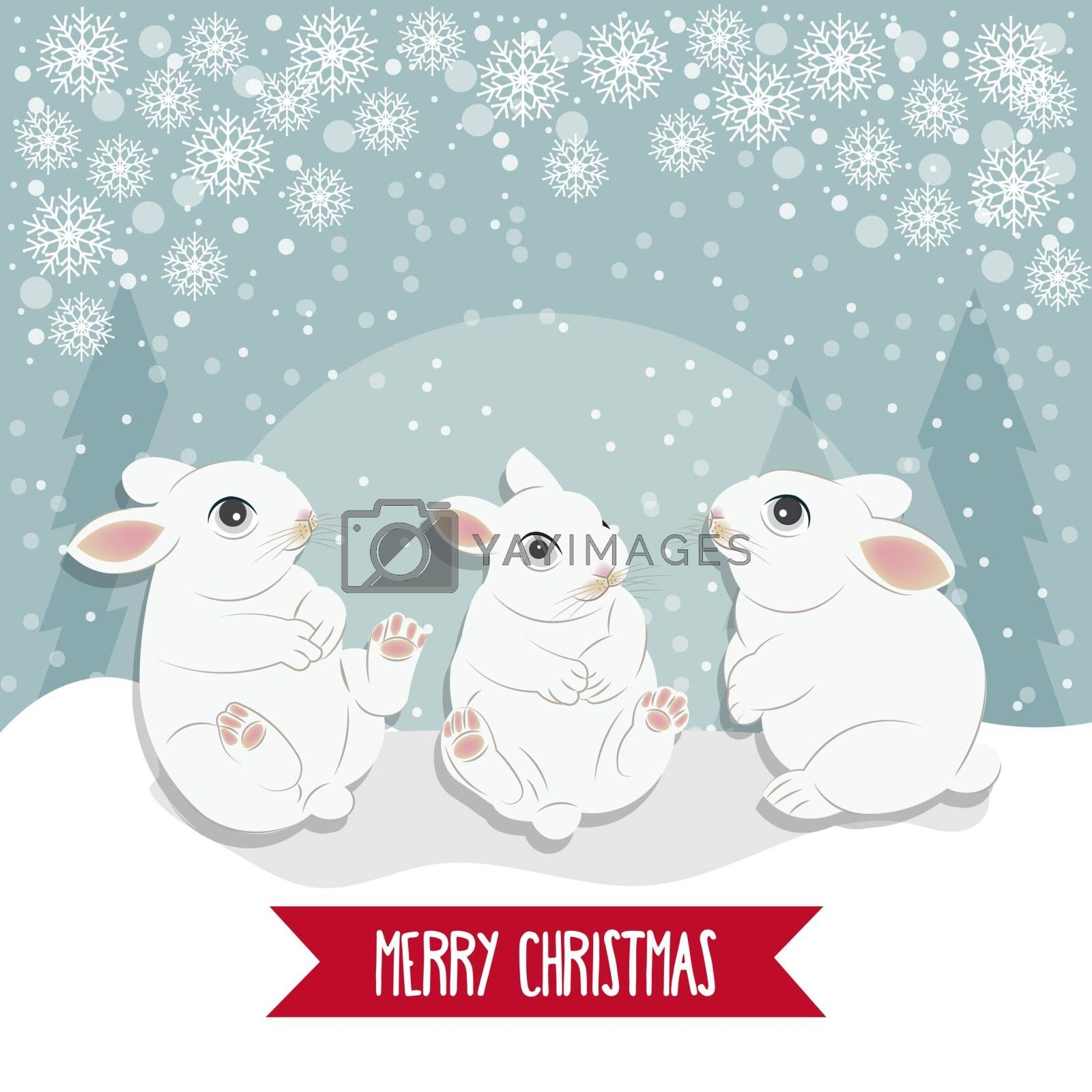 Christmas card with  rabbits. Christmas background. Flat design. Vector