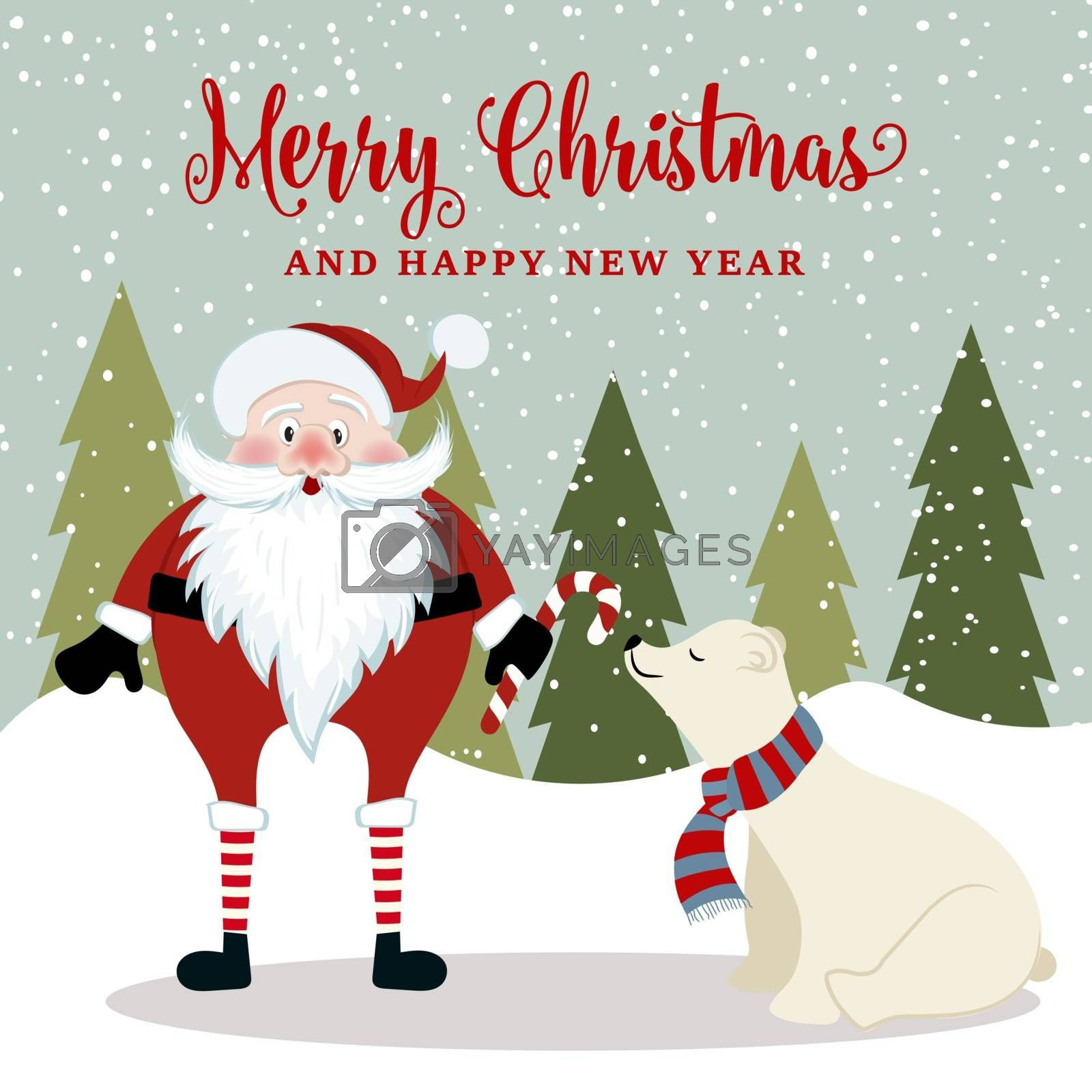 Gorgeous Christmas card with Santa and polar bear . Christmas poster. Vector