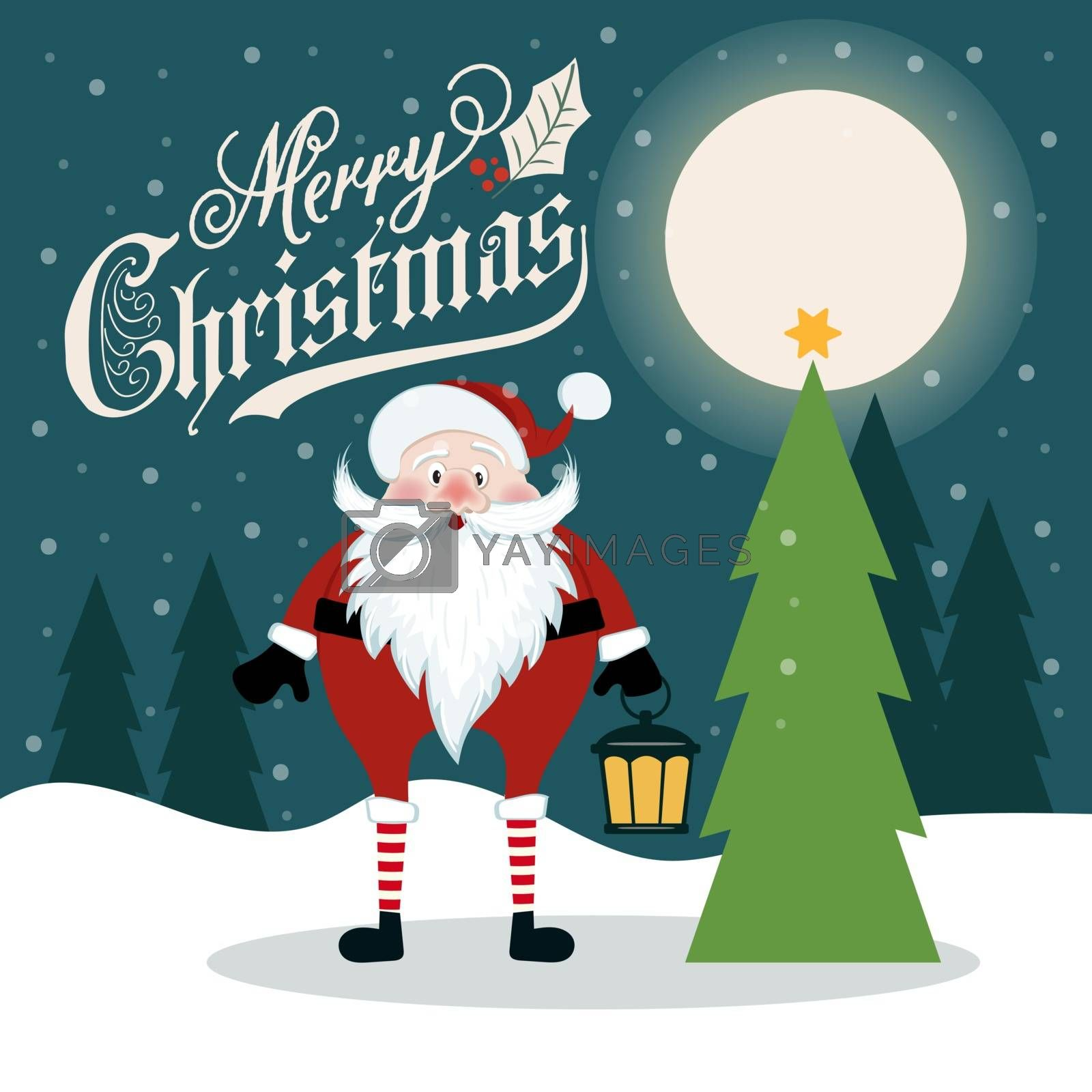 Beautiful flat design retro Christmas card with Santa and Christmas tree. Flat design. Vector