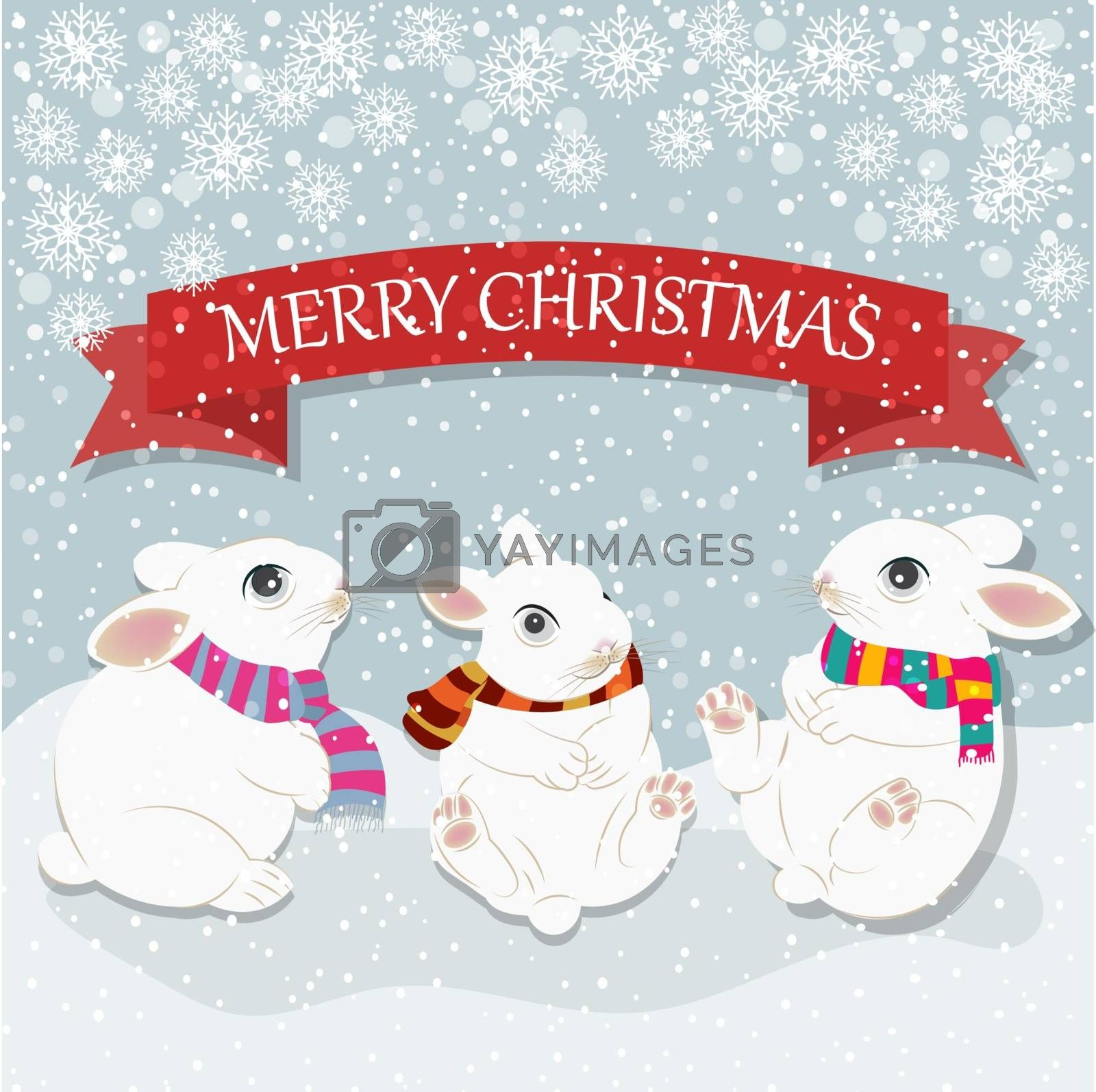 Christmas card with cute rabbits. Christmas background. Flat design. Vector