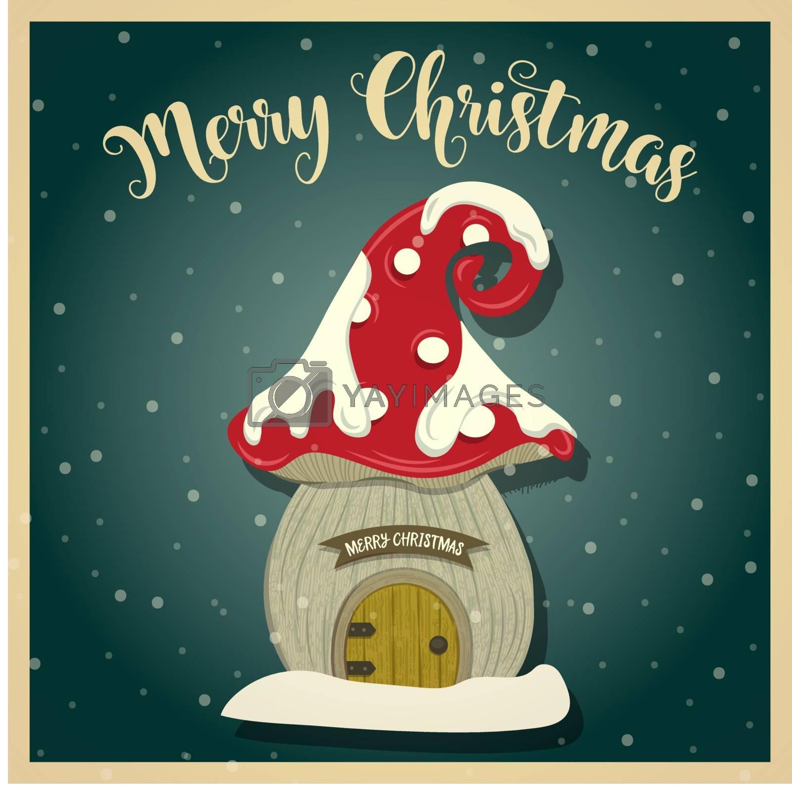 Vintage  Christmas card with gnome house. Christmas poster. Print. Vector